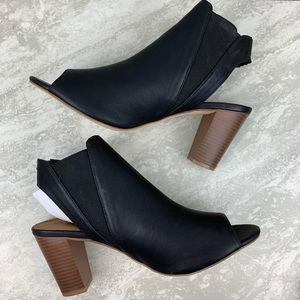 Maurices size 11 Black Peep Toe Open Back Booties